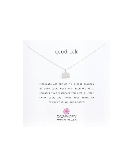 Dogeared - Metallic Good Luck Elephant Reminder Necklace (sterling Silver) Necklace - Lyst