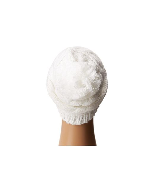 The north face Triple Cable Pom Beanie in White   Lyst
