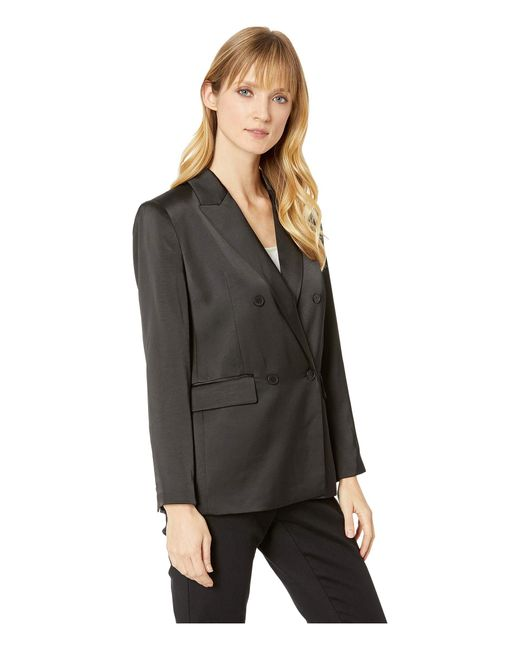Lyst Vince Camuto Soft Satin Double Breasted Blazer Rich Black