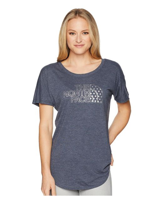 The North Face - Blue Americana Track Tee (tnf White Heather) Women's T Shirt - Lyst