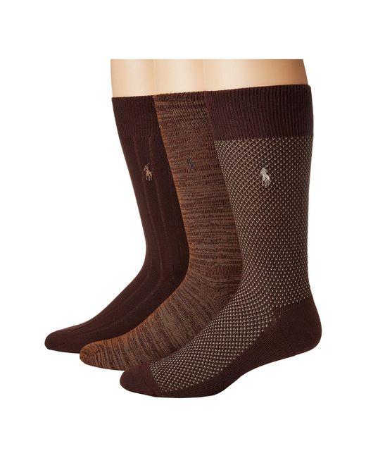 Polo Ralph Lauren - Brown Supersoft Birdseye 3-pack (chocolate) Men's Crew Cut Socks Shoes for Men - Lyst