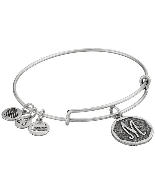 ALEX AND ANI - Metallic Initial M Charm Bangle - Lyst