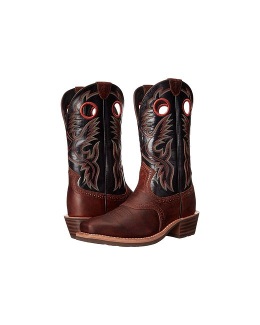 Ariat - Brown Heritage Roughstock (earth/vintage Black) Cowboy Boots for Men - Lyst