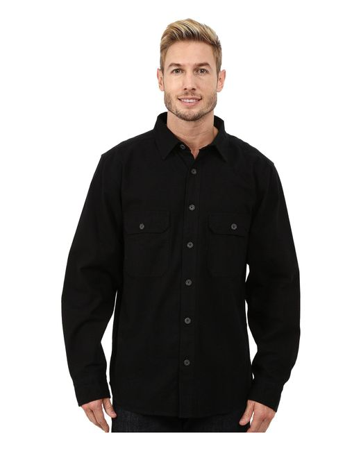 Woolrich - Expedition Chamois Shirt (black) Men's Long Sleeve Button Up for Men - Lyst