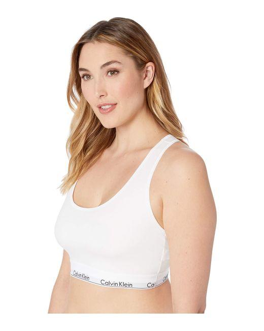 87f1f95084 ... Calvin Klein - White Plus Size Modern Cotton Unlined Bralette (grey  Heather) Women s Bra ...