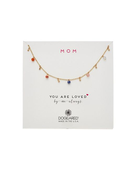 Dogeared | Metallic Mom, You Are Loved, Dangling Gem Necklace | Lyst