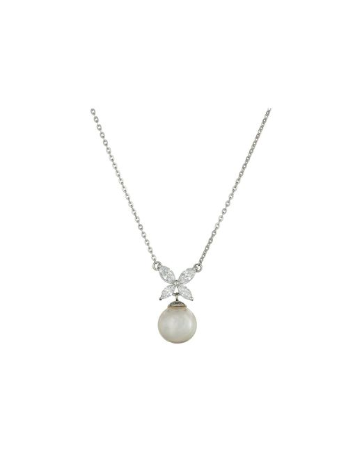 Majorica | Metallic 8mm Pearl And Cz Pendant Necklace | Lyst