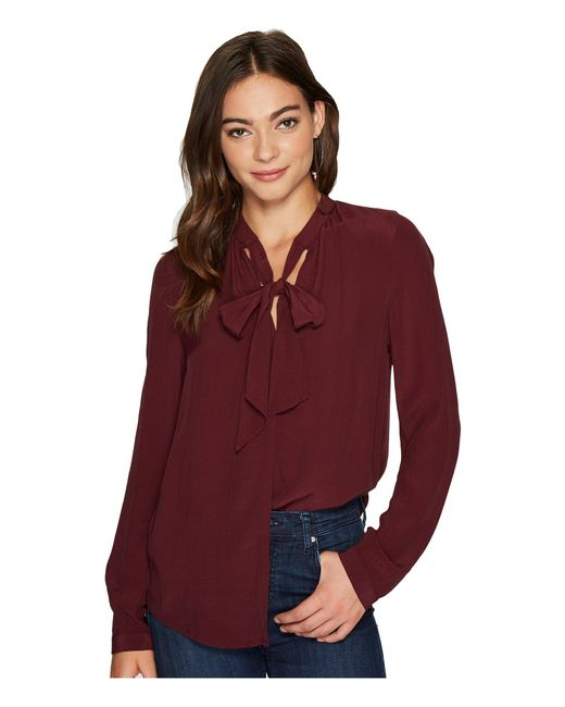 Lucky Brand | Red Tie Neck Top | Lyst