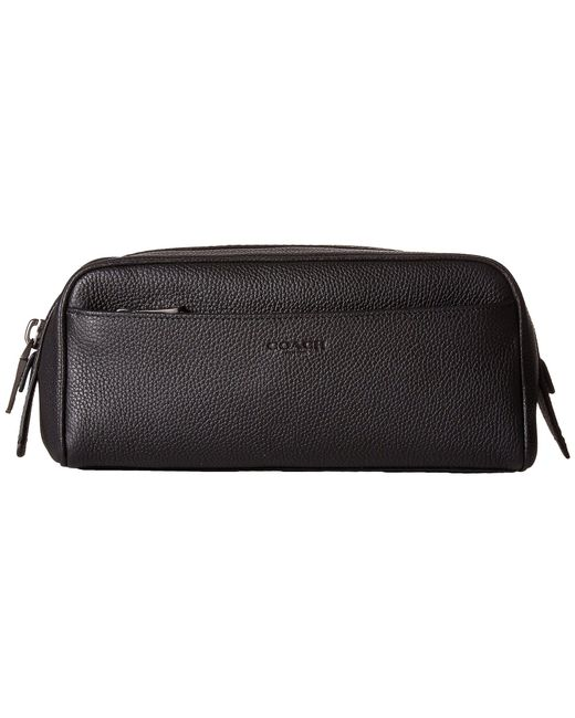 COACH - Black Dopp Kit In Pebbled Leather - Lyst