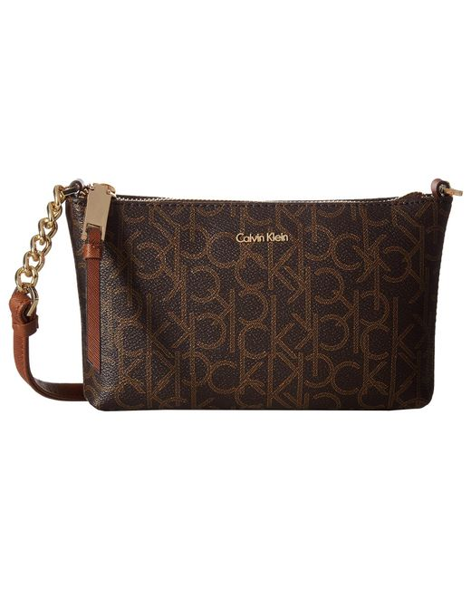 Calvin Klein - Hayden Monogram Crossbody (brown Khaki/luggage Saffiano) Cross Body Handbags - Lyst