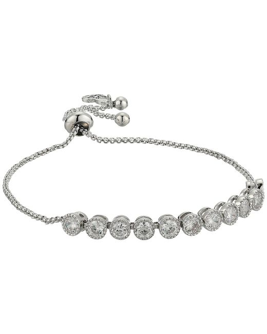 Betsey Johnson - Metallic Blue By Chain Bracelet With Cubic Zirconia Stones And Adjustable Slider (crystal) Bracelet - Lyst