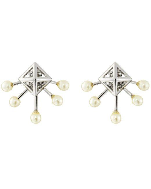 Rebecca Minkoff - Metallic Pyramid Fan Stud Earrings (imitation Rhodium/pearl) Earring - Lyst