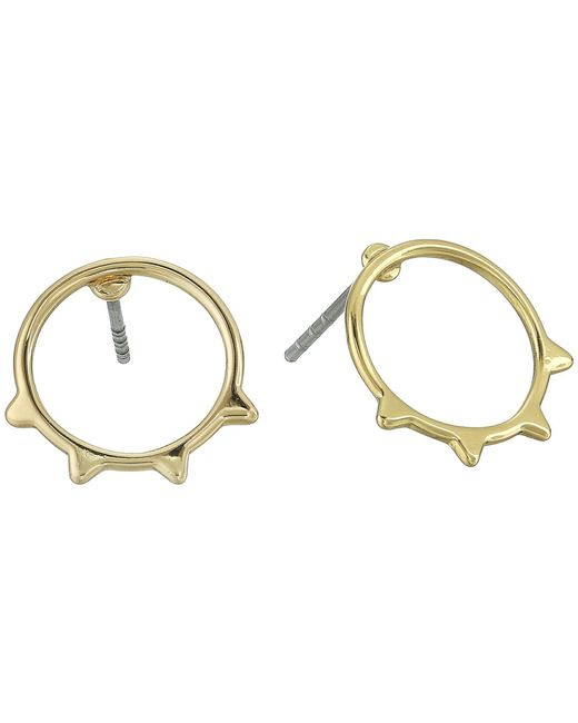 Rebecca Minkoff - Metallic Ellie Triangle Rimmed Circle Stud Earrings (gold) Earring - Lyst