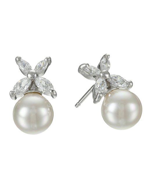 Majorica - Metallic 8mm Pearl W/ Cz Flower Earrings - Lyst