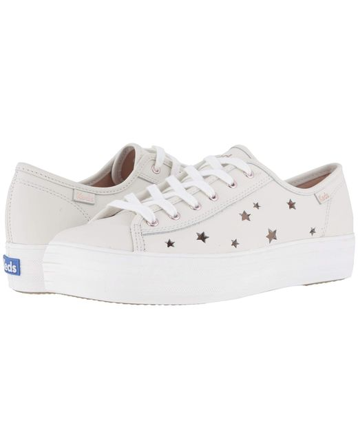 9bf97923db362 Keds - Natural Triple Kick Star Leather (cream Leather) Women s Shoes - Lyst  ...