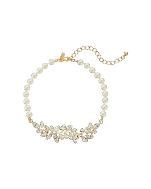 Kenneth Jay Lane - Metallic Pearl With Gold And Crystal Leaf Motif Choker Necklace (pearl) Necklace - Lyst