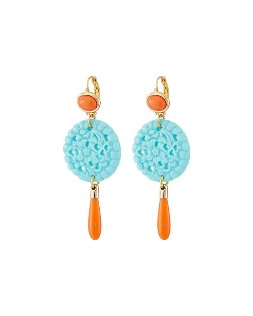 Kenneth Jay Lane - Blue 7849ectcp Small Gold And Top With Carved And Drop Wire Earrings - Lyst