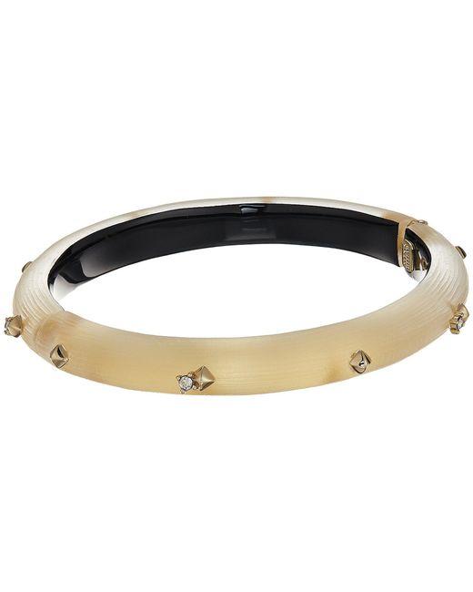 Alexis Bittar - Metallic Golden Studded Hinge Bracelet (blue Grey) Bracelet - Lyst