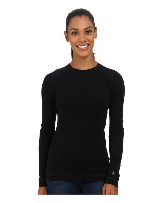 Smartwool - Black Nts Mid 250 Crew Top (dark Blue Steel Heather) Women's Long Sleeve Pullover - Lyst