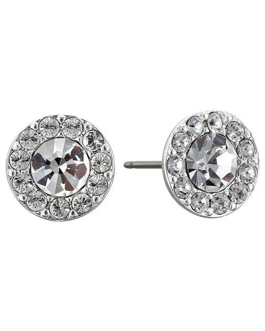 Lauren by Ralph Lauren | Metallic Small Round Pave Stud Pierced Earrings | Lyst