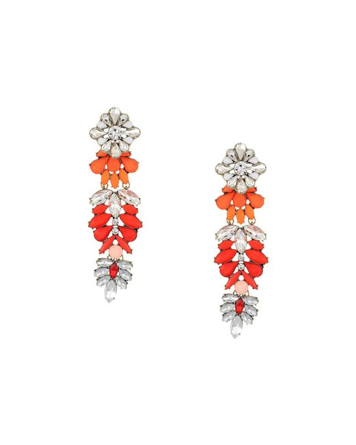 Steve Madden - Multicolor Floral Warm Jeweled Drop Earring (gold/silver/red) Earring - Lyst