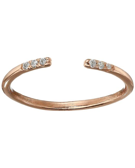 Shashi - Metallic Ava Ring With Crystal Stones (rose Gold/crystal) Ring - Lyst