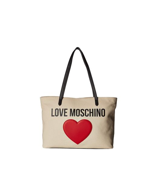 Lyst Moschino In Love Canvas White ToteivoryHandbags ulJTFKc31