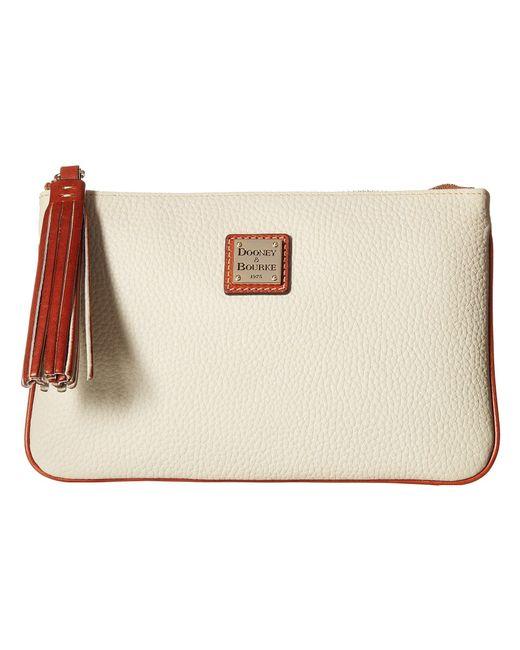 Dooney & Bourke - Multicolor Pebble Carrington Pouch (bone/tan Trim) Handbags - Lyst