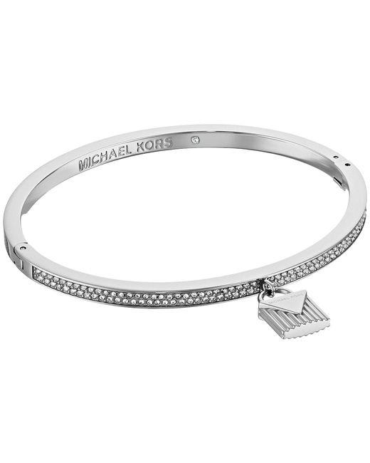Michael Kors - Metallic Logo Love Hinge Bracelet With Pave And Ridge Lock Charm (silver) Bracelet - Lyst