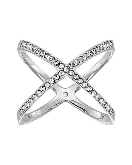 Michael Kors - Metallic Brilliance Pave X Ring (silver) Ring - Lyst
