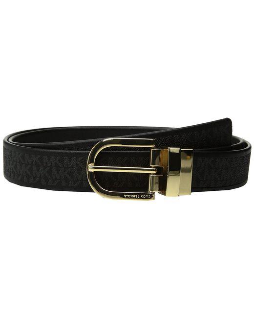 MICHAEL Michael Kors - Black 32mm Smooth To Mk Logo Reversible Belt - Lyst