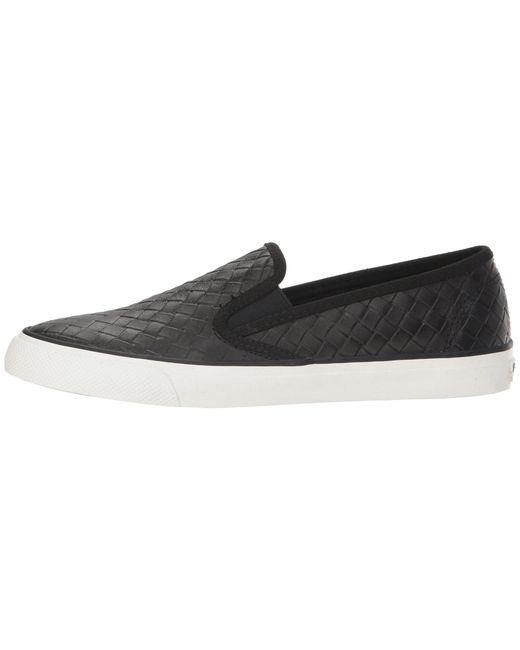 9560e78735 ... Sperry Top-Sider - Black Seaside Emboss Weave (grey) Women s Slip On  Shoes ...