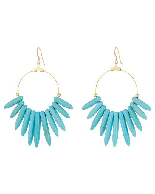 Kenneth Jay Lane - Blue 6794et Spikes , Gold Hoop Fishhook Earrings - Lyst