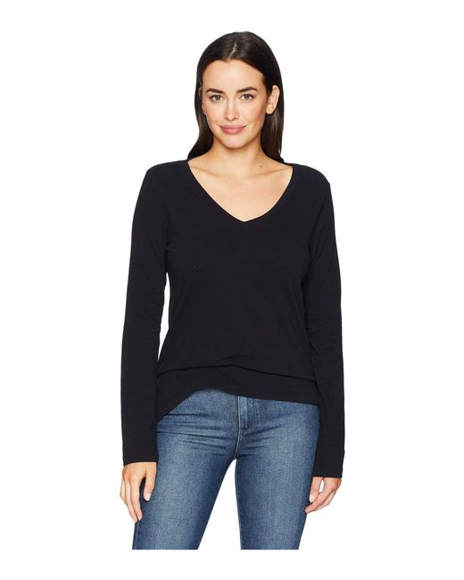 Dylan By True Grit - Black Effortless Long Sleeve V Tee (indigo) Women's T Shirt - Lyst