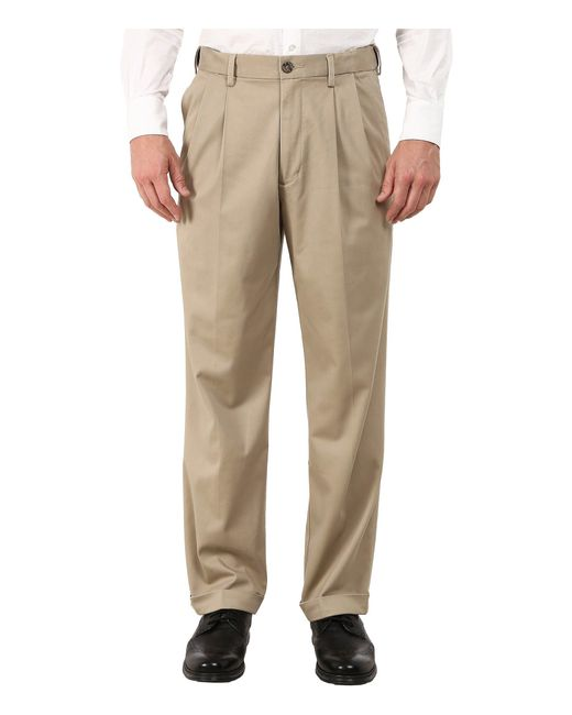 Dockers - Natural Comfort Khaki Stretch Relaxed Fit Pleated (black Metal) Men's Casual Pants for Men - Lyst