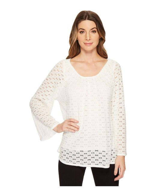 Nally & Millie - Natural Lace Top Set With Tank Layer (cream) Women's Clothing - Lyst