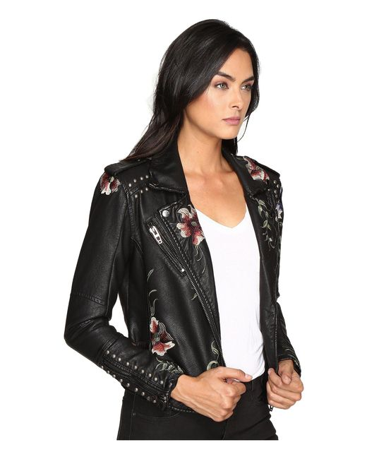 ... Blank NYC - Natural Embroidered Floral Detail Studded Moto Jacket -  Lyst ...
