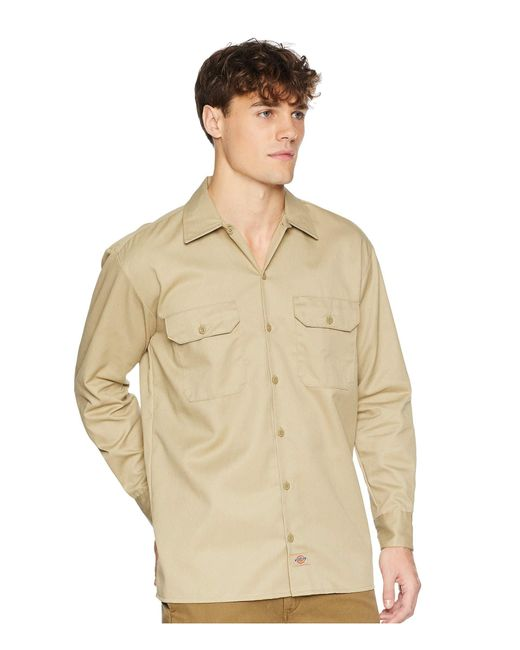 73fcf4903fa1 ... Dickies - Natural Long Sleeve Work Shirt (dark Navy) Men s Long Sleeve  Button Up ...