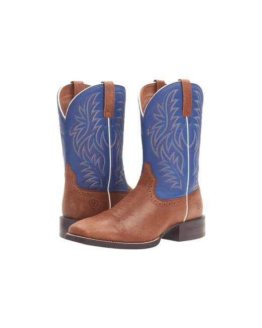 Ariat - Sport Western Wide Square Toe (red Angus Brown/royal) Cowboy Boots for Men - Lyst