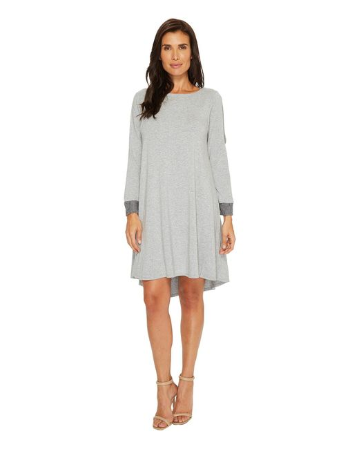 Mod-o-doc | Gray Cotton Modal Spandex Jersey Split Sleeve Swing Dress With Lace Trim | Lyst