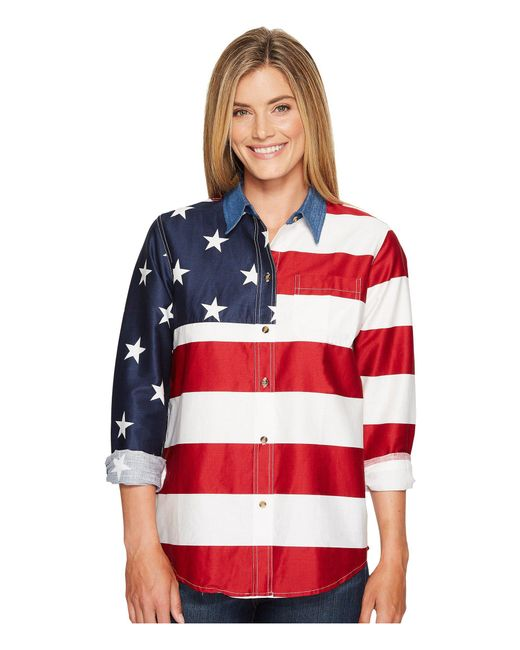 Roper - L/s Stars And Stripes Pieced Flag (red 2) Women's Long Sleeve Button Up - Lyst