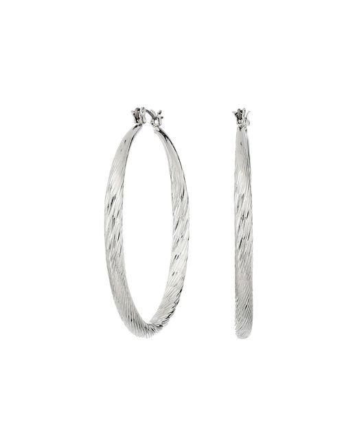 Guess - Metallic Twist Hoop Earrings (silver) Earring - Lyst