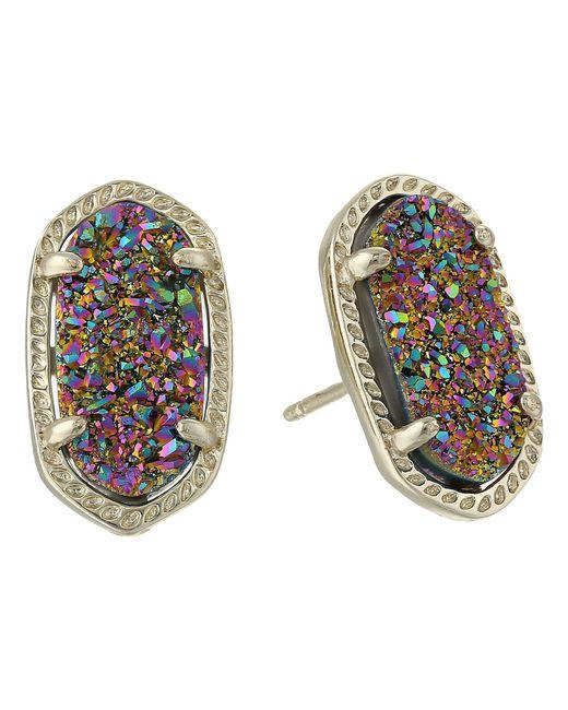 Kendra Scott - Multicolor Ellie Earring (rhodium/cobalt Drusy) Earring - Lyst