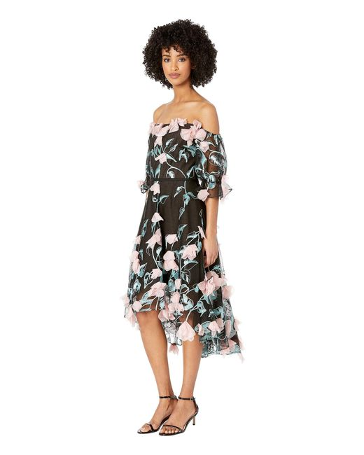 084941df ... Marchesa notte - Off The Shoulder 3d Floral Embroidered Cocktail With  Blouson Sleeve And Trims ...