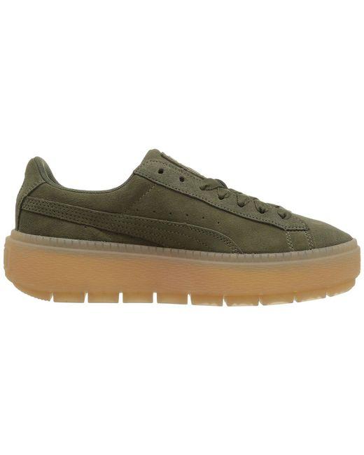 90f098c85a31 ... Lyst PUMA - Green Suede Platform Trace ( Black  Black) Women s Shoes ...