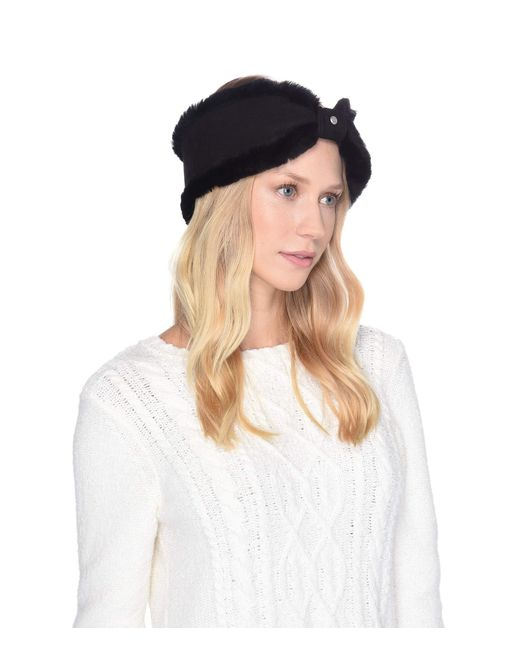 Ugg - Black Bow Water Resistant Sheepskin Headband (lantana Pink) Headband  - Lyst ... 6e82cc415120
