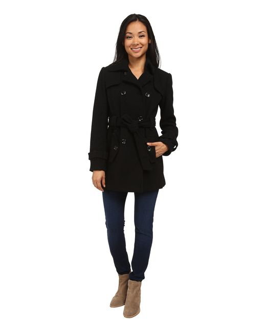 CALVIN KLEIN 205W39NYC - Black Double Breasted Belted Wool Trench Coat - Lyst