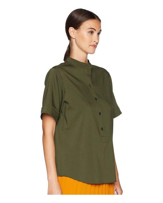 a5d75cd7 ... Jil Sander Navy - Short Sleeve Shirt W/ Korean Neckline (dark Green)  Women's ...
