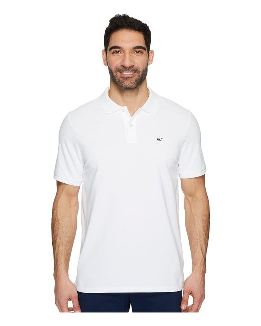Vineyard Vines - Stretch Pique Solid Polo Contrast Whale (white Cap) Men's Clothing for Men - Lyst