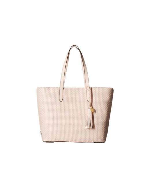 Cole Haan - Multicolor Woven Leather Payson Tote (peach Blush) Tote Handbags - Lyst